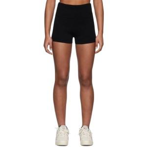 Live the Process Black Rib Fold Over Shorts