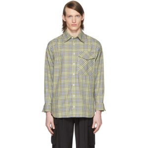 Tibi SSENSE Exclusive Green and Beige Check Recycled Utility Shirt