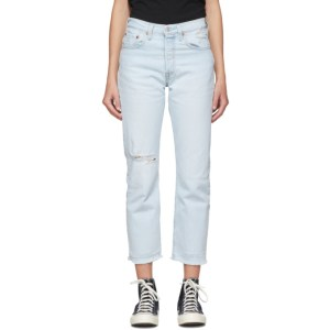 Levis Blue 501 Original Stretch Cropped Jeans