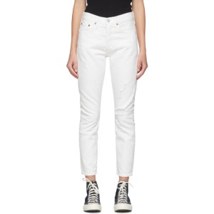Levis White 501 Skinny Jeans