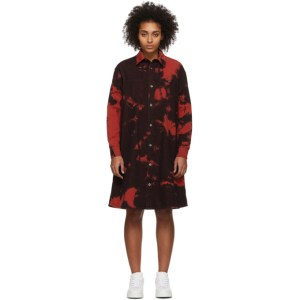 McQ Alexander McQueen Red McQ Swallow Tatsuko Tie-Dye Shirt Dress