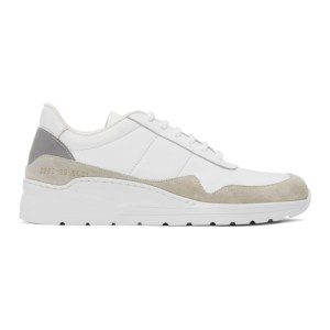 Common Projects White and Grey Cross Trainer Sneakers