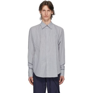 Bianca Saunders Blue and Brown Check Clinched Shirt