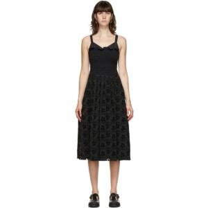 Marina Moscone Black Smocked Mid-Length Dress