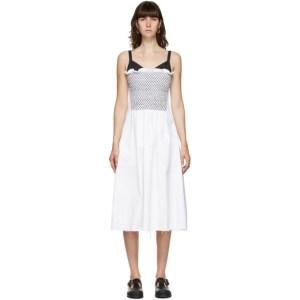 Marina Moscone White Smocked Mid-Length Dress