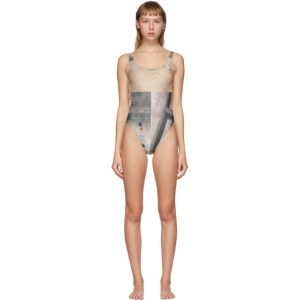 Serapis Beige and Grey Piraeus Tower One-Piece Swimsuit