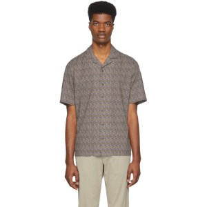 Z Zegna Brown and Navy Pattern Short Sleeve T-Shirt