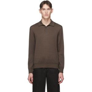 Z Zegna Taupe Knit Long Sleeve Polo