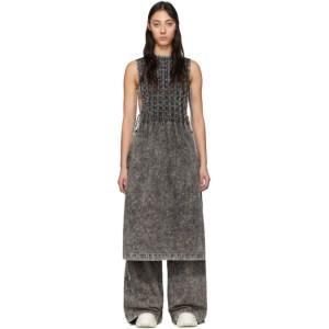 S.R. STUDIO. LA. CA. Black Checkered Pleats Mineral Wash Bib Dress
