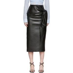Materiel Tbilisi Black Faux-Leather Waist Tie Skirt