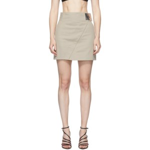 Coperni Beige High-Waisted Asymmetric Skirt