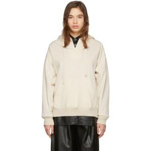 Aeron Off-White Faux-Leather Detail Hoodie