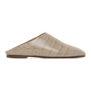 Emme Parsons Taupe Croc-Embossed Glider Slippers