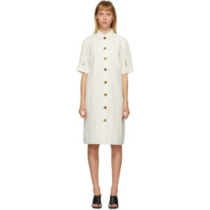 Partow White Silk Glen Shirt Dress