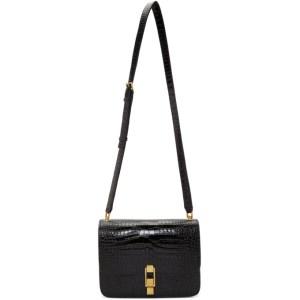 Saint Laurent Black Croc Carre Satchel Bag
