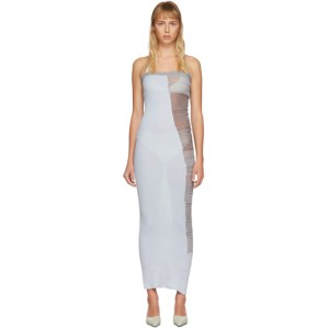 Christina Seewald SSENSE Exclusive Blue and Grey Patchwork Tube Dress