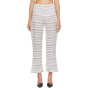 Christina Seewald SSENSE Exclusive Grey Striped Sheer Lounge Pants
