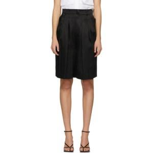 LVIR Black Pleated Satin Shorts
