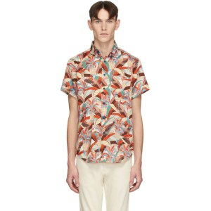Naked and Famous Denim Orange and Blue Jungle Vacation Aloha Shirt