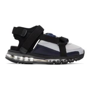 Miharayasuhiro Black and Grey Half and Half Sandals