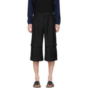 Loewe Navy Wool Cargo Short Trousers