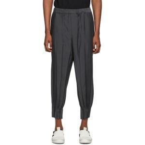 Issey Miyake Men Grey Chambray Wrinkle Trousers