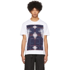 Craig Green White and Navy Embroidered Body T-Shirt