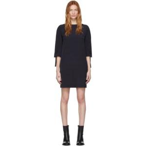 Victoria Victoria Beckham Navy Ruched Short Sleeve Dress