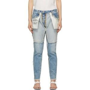 Unravel Blue Distressed Reversed Boyfriend Fit Jeans