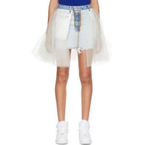 Unravel Blue Stone Denim Tulle Reversed Miniskirt