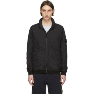 Stone Island Black Nylon Zip-Up Jacket