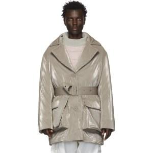 Eckhaus Latta Grey Down Tailored Puffer Coat