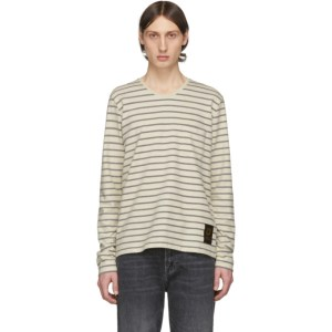 Tiger of Sweden Jeans Off-White and Black Striped Salk Long Sleeve T-Shirt