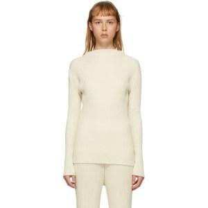 Lauren Manoogian Off-White Column Mock Neck Sweater