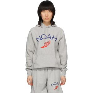 Noah Grey Wing Foot Embroidered Hoodie