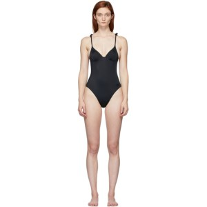 Solid and Striped Black The Olympia One-Piece Swimsuit