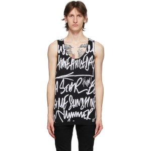 TAKAHIROMIYASHITA TheSoloist. Black and White Mickey Mouse Tank Top