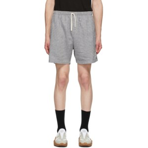 Schnaydermans Blue and Grey Linen Check Shorts