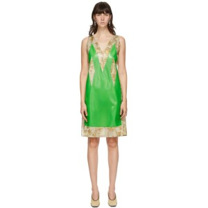 Kwaidan Editions SSENSE Exclusive Green Satin and Latex Dress