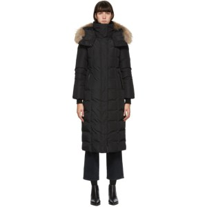 Mackage Black Down and Fur Maxi Jada Coat