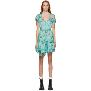 R13 Blue Floral Deconstructed Babydoll Dress