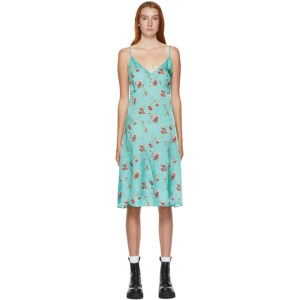 R13 Blue Floral Back Tie Slip Dress