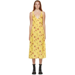 R13 Yellow Floral Long Side Stripe Slip Dress