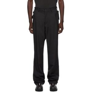 Sulvam Black Gabardine Belt Trousers