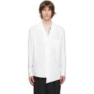 Sulvam White Broad Open Collar Shirt