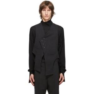 Sulvam Black Wool Slim Vest