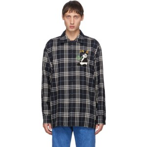 Doublet Navy Check Puppet Animal Shirt