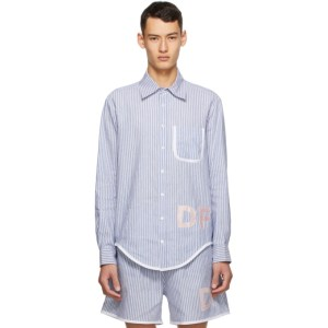 Daniel W. Fletcher Blue and White Striped Oxford Shirt