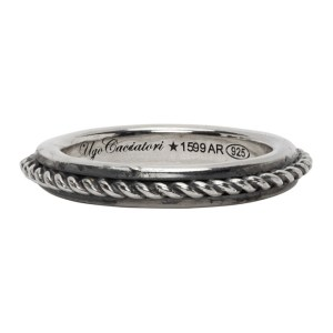 Ugo Cacciatori Silver Edge and Cable Ring