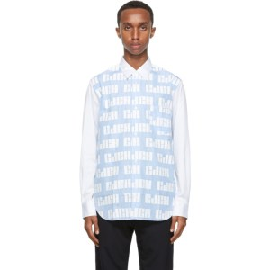 Comme des Garcons Homme White and Blue Striped Logo Pattern Shirt